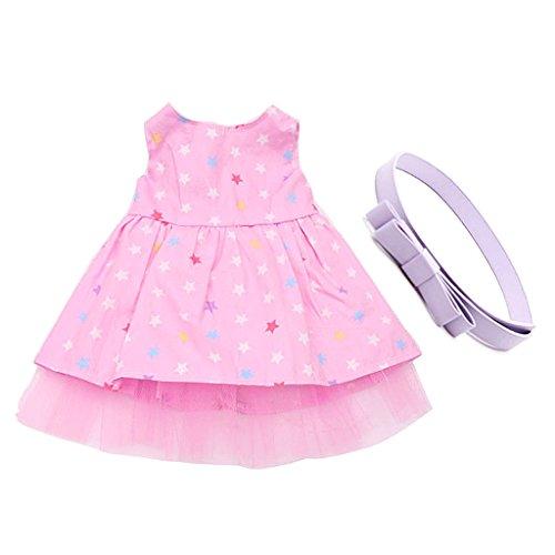 Gazechimp Modische Puppenkleid - Pink Stern Gedruckt Ärmelloses Kleid + Bowknot Gürtel - Kleidung für Puppe Outfit Zubehör