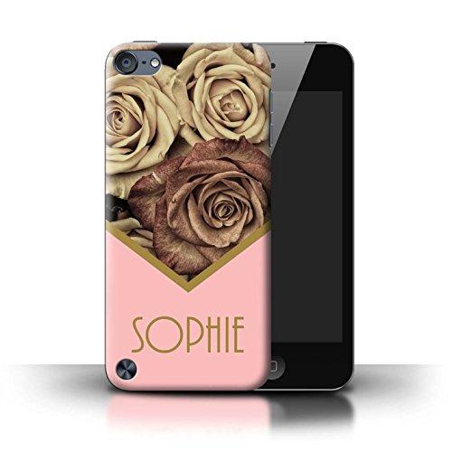 Personalisiert Individuell Blumen Hülle für Apple iPhone 8 / Goldweinlese Rosen Design / Initiale/Name/Text Schutzhülle/Case/Etui Goldweinlese Rosen