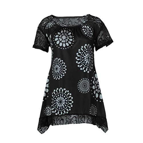 Damen Bluse Xiantime Damen Freizeit O-Ausschnitt Mode Damen Sommer Oberteile T Shirt Plus Size Blumendruck Bluse Casual Tops S-5XL