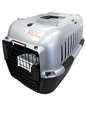 RAC Pet Carrier Plastic Portable Transport Large Cage Black/Silver by RAC