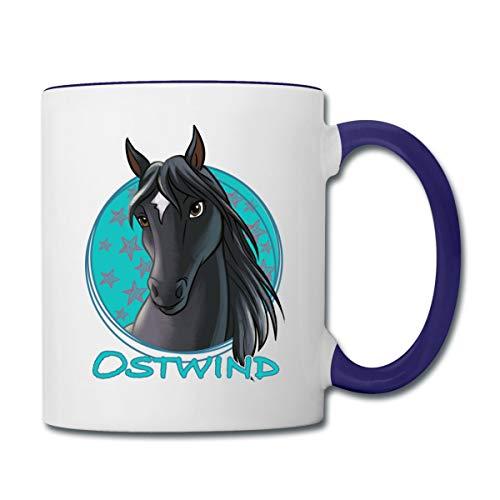 Spreadshirt Ostwind Pferd Porträt Tasse zweifarbig, Weiß/Kobaltblau