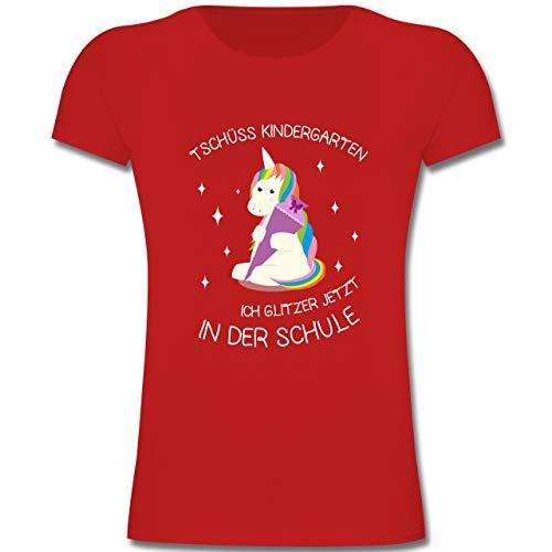 Einschulung und Schulanfang - Einschulung Einhorn Tschüss Kindergarten - 128 (7-8 Jahre) - Rot - F131K - Mädchen Kinder T-Shirt