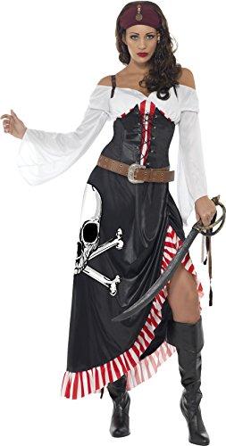 Smiffys, Damen Piratin Kostüm, Oberteil, Rock und Gürtel, Größe: M, (Womens Kostüme Halloween Pirat)