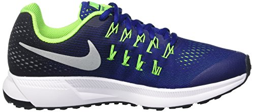 Nike Zoom Pegasus 33 (Gs), Scarpe da Ginnastica Bambino Nero (Dp Ryl Bl/Mtllc Slvr/Blk/Elctr)