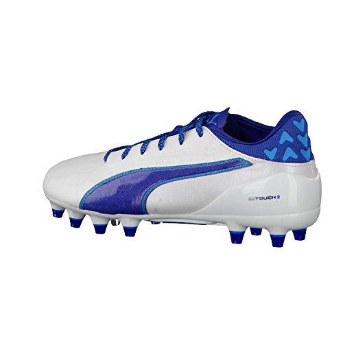 Puma Evotouch 2 Fg, Chaussures de Football Compétition Homme blanc/bleu
