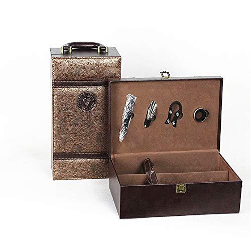 Luxus-Geschenkbox Vintage Brown PU Leder Tragbare Weinbox 2 Flasche Rotwein Champagner Lagerung Geschenk Verpackung Box Reise Weinkoffer mit Griff 4 Stück Wein Werkzeuge Zubehör Set für Geburtstagsfei