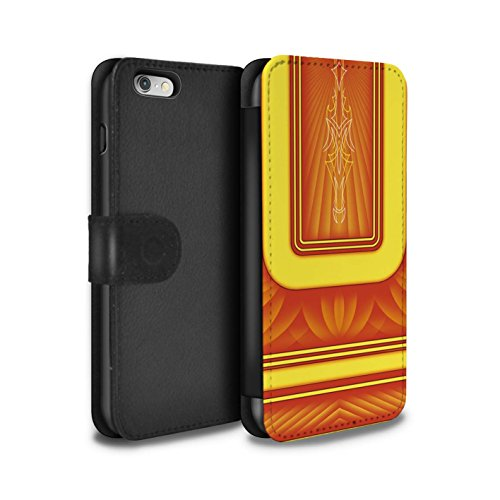 Stuff4 Coque/Etui/Housse Cuir PU Case/Cover pour Apple iPhone 6S / Noir/Orange Design / Peinture Personnalisée Collection Orange/Jaune