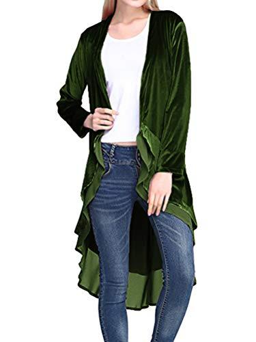 Minetom Damen Rüschen Asymmetrische Lange SAMT Mantel Casual Blazer Trench Jacken Elegant Langarm Einfarbig Oversized Umhang Windjacke Cardigan Grün DE 42