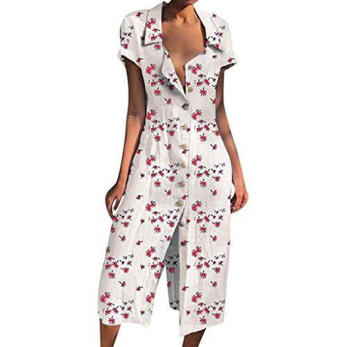 t Jumpsuit Sommer Ferien Slim Fit Gedruckte Blumen Kurzarm Kostüm(Weiß,EU-40/CN-XL) ()