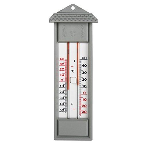 Min Max interior - exterior - jardín - casa con termómetro y 2 escalas, jardín Termómetro analógico para gris, Made in Germany, no contiene mercurio