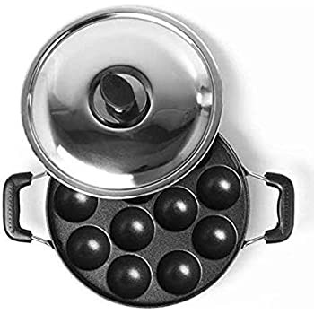 SUNDRY Non Stick 12 Cavity Appam patra with Side Handles and lid (Large Size, Color: Red)