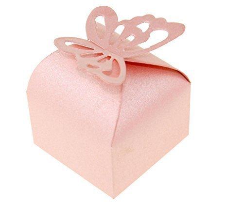 100x Schmetterlings-Muster Hochzeit Party Gastgeschenk Box Kartonagen Schachtel Rosa