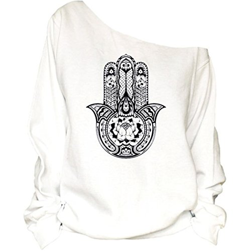 Frauen-Damen Anker Weg von der Schulter Maxi-Slouchy Sweatshirt Pullover Tops Blusen (Hamsa Hand) M