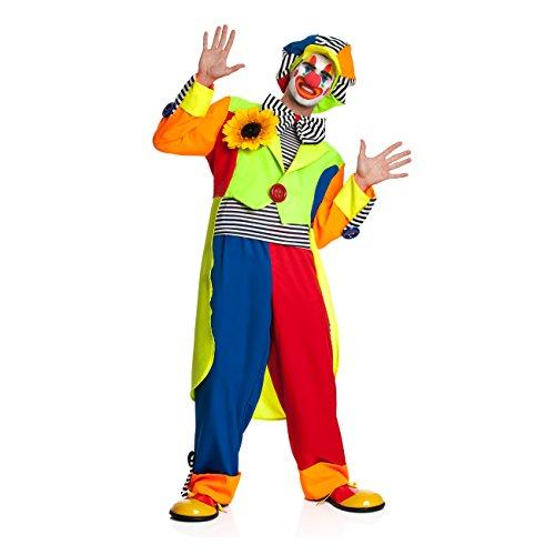 Kostümplanet® Clown-Kostüm Herren mit Clown-Mütze und riesen Clown-Fliege Größe - Clowns Kostüm