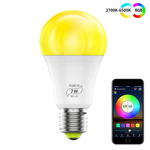 haodeng wlan smart led 7 w lampada wifi illuminazione dimmerabile compatibile con alexa, iftt, google home e siri, sunset & alba sveglia, 16 milioni di colori, lampadina e27, (1pack)
