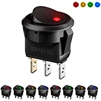Interruptores para Coche, MiMoo 8pcs LED Interruptor Coche Rocker Interruptor 12 V 20 A On/Off Auto Boton Interruptor Rocker Switch