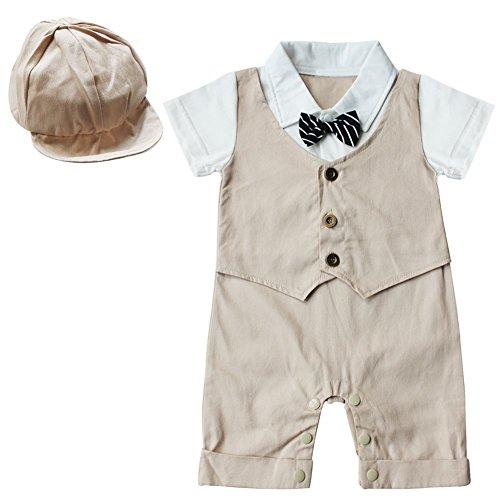 YiZYiF Baby Jungen Strampler Smoking für Jungen Gentleman Anzug Fliege mit Hut Verkleidung (6-9 Monate, Khaki)