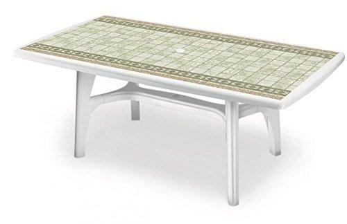 Tavolo Plastica Da Esterno.Tavolo Per Esterno Bianco Con Piano Stampato Deco Top Pietra Tavolo