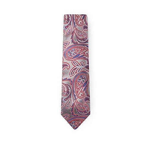 YA-BC-B.01 Hochzeitsfest-Paisley-Jacquardwebstuhl-Silk Krawatten für Verbindung Durch Y & G Grau - YACB0003-Grey,Red,Blue