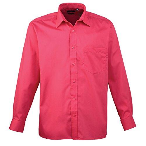 Premier Langarm Popeline-Hemd Dunkles Pink