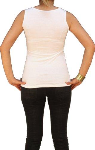 08119 Damen Top Frauen Top Shirt Lochmuster, weiß, schwarz, pink, blau, Unigröße (S, M, L). Weiß
