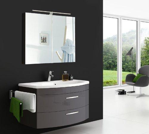 #SAM® Badmöbel-Set Vena 2tlg, 80 cm, Hochglanz anthrazit, mit Mineralguss-Waschbecken, Schubladen und Türen mit Softclose-Funktion, Badezimmer mit Waschplatz und Spiegelschrank#