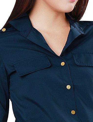 Allegra K Femme Boutonnière Manches Longues Semi-transparente Décontracté T-shirt Dark Blue