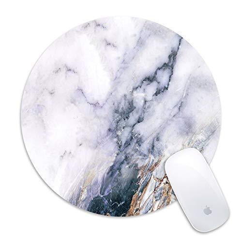 Maus Pad galdas Classic weiß schwarz Marmor Individuelle Mousepad rund Gaming Maus Pad Gummi Boden Tuch Maus Pads für Computer Laptop (Aktualisierte Version) white-marble -