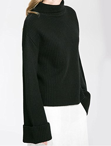 MatchLife Femme Pullover Col Roulé Sweatshirt Chandail Décontracté MailleS TricotéS Noir