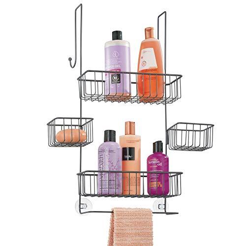 Mdesign portaoggetti doccia da appendere – organizer doccia in metallo – mensola doccia con cestelli per shampoo, bagnoschiuma e altro – non serve forare la parete – grigio