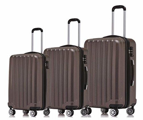 BEIBYE TSA-Schloß 2080 Hangepäck Zwillingsrollen neu Reisekoffer Koffer Trolley Hartschale Set-XL-L-M(Boardcase) in 12 Farben (Coffee, 3tlg. Kofferset)