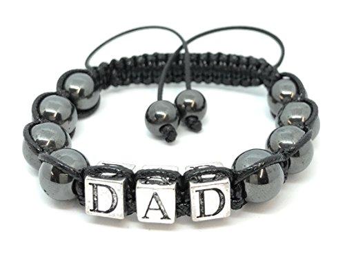 Made in gran bretagna dad ematite heil pietra preziosa shamballa braccialetto dell' amicizia, regalo per la festa del papà