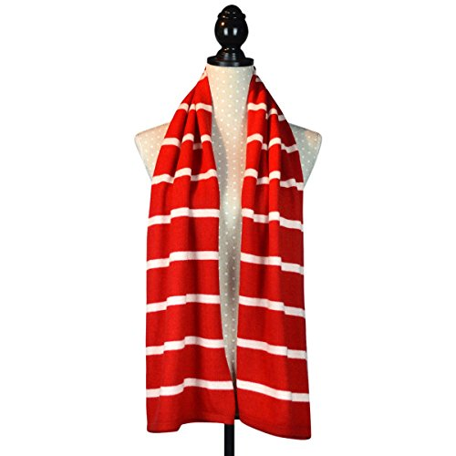 Cashmere Poncho Scialle Cardigan con Bottoni, in confezione regalo red Stripe
