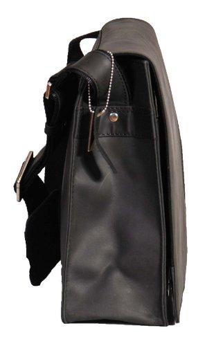 Hommes cuir véritable croix messager du corps sac à bandoulière ordinateur portable - A48 noir brun Noir