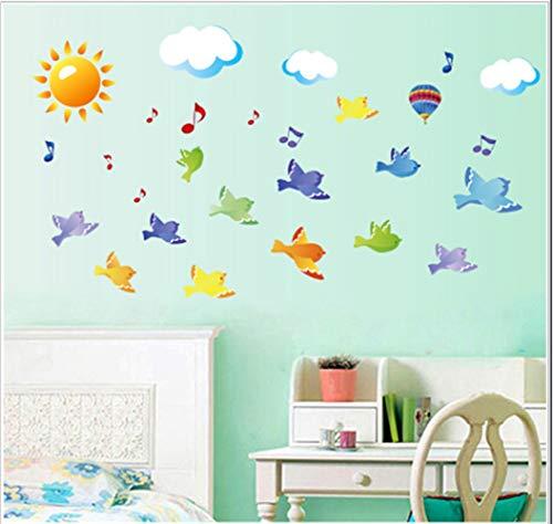 AFTUZC Wandaufkleber,Sky Vögel Sun Ballon Cloud Cartoon Wall Sticker Für Schlafzimmer Kid Sroom Wohnzimmer Home Decor Vinyl Kindergarten -
