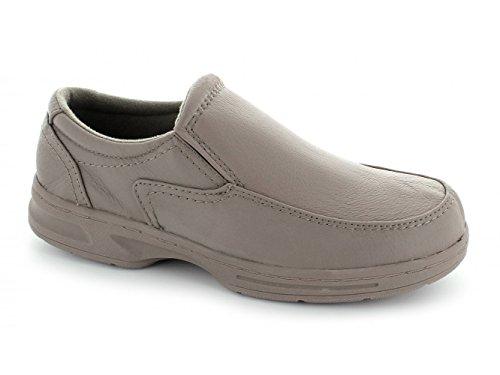 Dr Keller HOWARD Wide Fit Shoes-Mocassini da uomo in pelle, colore: grigio talpa Grigio (Marrone)