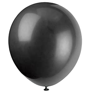 Unique Party Globos de Fiesta de Látex, Paquete de 72 Color negro pack of 72 52397