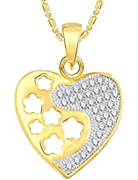 VK Jewels Stars In Gold And Rhodium Plated Alloy CZ American Diamond Pendant With Chain For Women [VKP2518G]