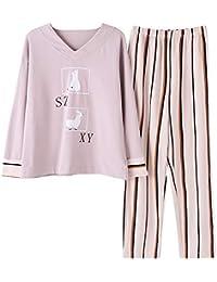 Wsxxnhh Pijama De Algodón De Las Mujeres Traje De Otoño De Dos Piezas De Moda A