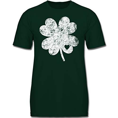 Anlässe Kinder - Vintage Kleeblatt mit Herz - 152 (12-13 Jahre) - Tannengrün - F130K - Jungen Kinder T-Shirt -