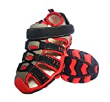 Sandales Bout Fermé Mixte Enfant Été Sandales de Marche Extérieur Plates Souple Semelle Chaussures Filles garçons Plage Tongs Antidérapant,Rouge,32 EU
