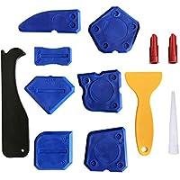 Shuxy 12 Piezas Kit de herramientas para calafateo Raspador removedor de lechada de silicona Sellador para