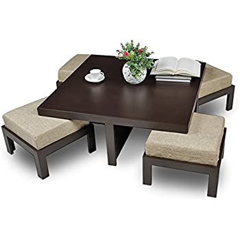 Exceptionnel Ikiriya CTW0105 Solid Wood Coffee Table Wit 4 Stools (Brown)