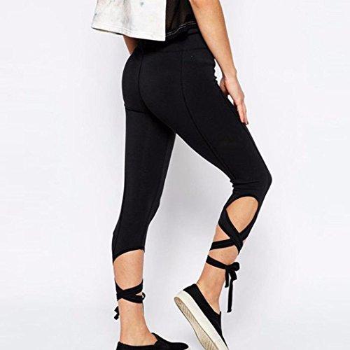 Pantalon de Sports,Tonwalk Femmes Sports Workout Fitness Yoga Tondu Leggings Pantalons athlétiques Noir