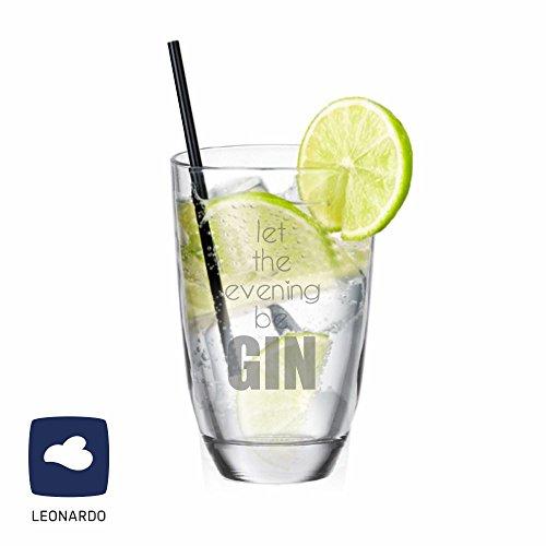 4you Design Leonardo GIN-Glas Let the evening be GIN - Gin Fan - Geschenkidee - originelles Geburtstagsgeschenk - für Mann/Frau