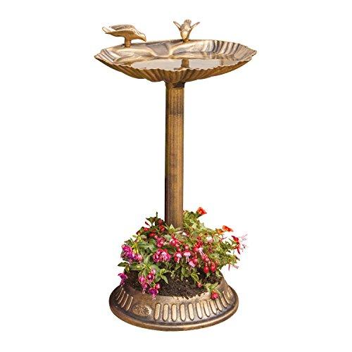 MP Essentials outdoors Clam Shell bronzo vasca per uccelli da giardino con vaso