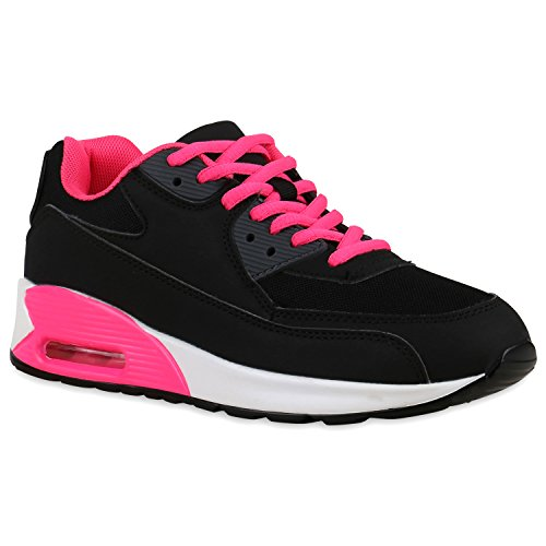Damen Sportschuhe Laufschuhe Profilsohle Neon Schnürer Runners Schwarz Pink Weiss ticp56c7