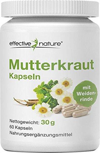 effective nature Mutterkraut Kapseln mit Weidenrinde - Natürliche Hilfe zur Entspannung - 60 Stk