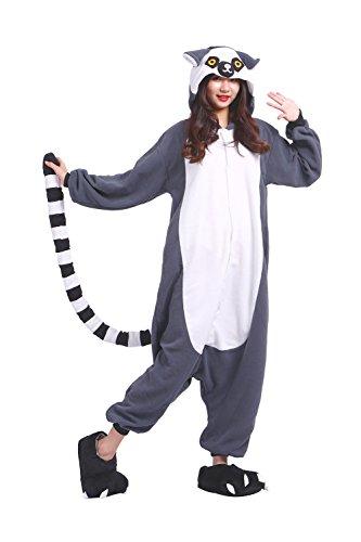 DarkCom Erwachsene Onesies Frauen Pyjamas Sleepsuit Flauschige Kigurumi Halloween Kostüme Jumpsuit Lemur (Halloween Lemur Kostüm)