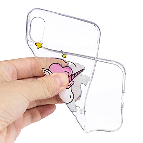 Coque pour Apple iPhone X , IJIA Transparent Chat Noir TPU Doux Silicone Bumper Case Cover Shell Housse Etui pour Apple iPhone X (5.8) LF12